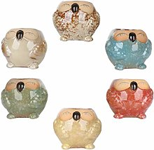 Cabilock 6 pezzi in ceramica a forma di gufo per