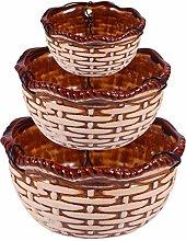 Cabilock - Set di 3 cestini in ceramica per piante