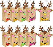 CAETNY Sacchetto Regalo di Carta di Natale Fai da