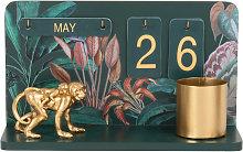 Calendario perpetuo in metallo verde e stampa con