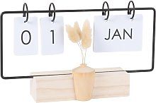 Calendario perpetuo in paulonia e fiori secchi