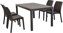 CALIGOLA - set tavolo fisso in wicker cm 150 x 90
