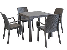 CALIGOLA - set tavolo fisso in wicker cm 80 x 80 x