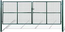 Cancello a Rete per Giardino con 3 Chiavi Verde