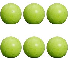 Candela a Sfera Rustica 80 mm 6 pz Lime - Verde -