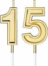 Candele di Compleanno di 15 Candele di Numero per