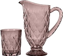 Caraffa in vetro rosa da 1 litro e 6 bicchieri in