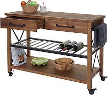 Carrello da portata cucina HWC-C86 legno di abete