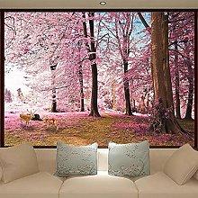 Carta da parati 3D rosa ciliegio paesaggio foresta