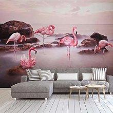 Carta da parati murale 3D Sunset Lake Pink Birds