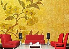 Carta da parati Retro Golden Floral Wallpaper
