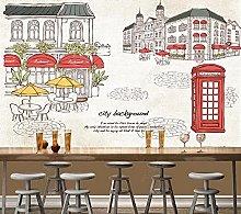 Carta da parati Street Cafe Tema Illustrazione