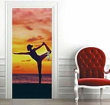 Carta Parati Porta Yoga Donna Door Murale Carta da