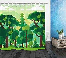 Cartoon design foresta verde alberi Stampa HD,