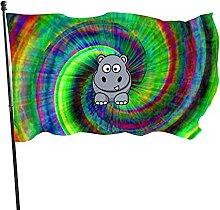 Cartoon Hippo Garden Flag Indoor Outdoor Flag 3x5