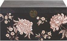 Cassapanca nera con stampa floreale multicolore