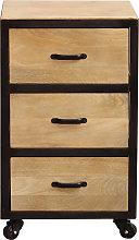 Cassettiera scrivania industriale legno massiccio