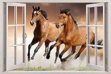Cavallo 3d finestra vista decalcomania adesivo da