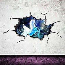 Cavallo bianco fiaba adesivo murale crepa 3d