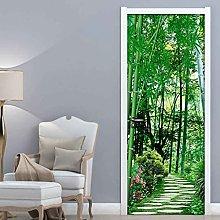 CBWRAW 3D Adesivo per Porte Paesaggio di bambù