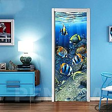 CBWRAW 3D Interne Adesivi per Porte Pesce Azzurro
