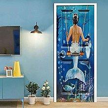 CBWRAW Adesivo per Porta 3D Sirena di Mare Blu