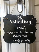 Ced454sy Cartello in Legno No Soliciting Unless