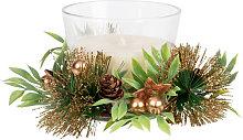 Centrotavola candela in vasetto di vetro bianco,