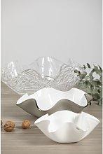 Centrotavola Medium Taupe / Satin White 33cm X