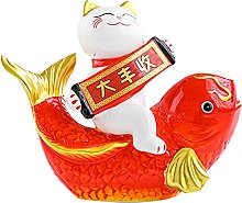 Ceramica denaro Lucky Cat Statua Ornamenti, Lucky
