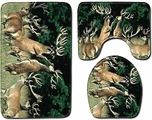 Cervo Animale Verde Set di Tappetino da Bagno 3