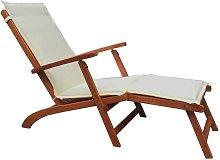 Chaise longue con struttura in legno   Ecru