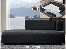 Chaise longue letto in Tessuto Bicolore grigio e