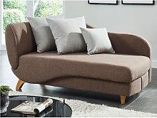 Chaise longue letto in Tessuto Marrone e cuscini