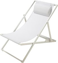Chaise longue / sdraio pieghevole bianca in metallo