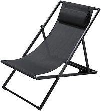 Chaise longue / sdraio pieghevole color antracite