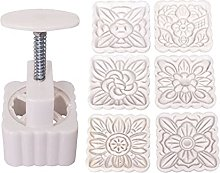 CHAOCHAO 6pcs Square Flowers Stamps Mooncake