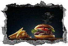 Cheeseburger, adesivo, 3D, cibo, cucina, parete,