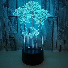 CHENCHAOK Lampada da comodino in acrilico rosa 3D