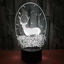 CHENCHAOK Luce notturna 3D Elk Luce da comodino