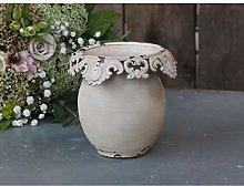 Chic Antique Vaso con Bordo Pizzo H13xØ14cm Vaso