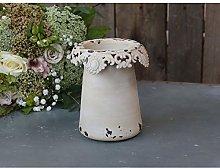 Chic Antique Vaso con Bordo Pizzo H15,5xØ14cm