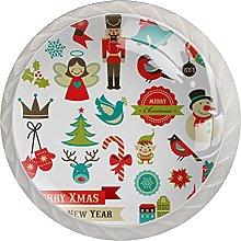 Christmas Stickers - Set di 4 pomelli per