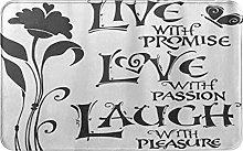CIKYOWAY Tappetino da bagno Live Love Laugh