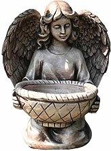 CMmin Angel Girl Statua Bird Feeder Bagno Flower