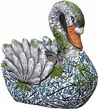 CMmin Swan Flower Pot Statua Garden Planter