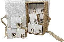 Cofanetto con 12 scatole portaconfetti in Tessuto
