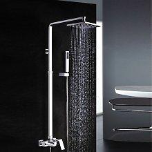 Colonna doccia e finitura cromata di forma quadrata