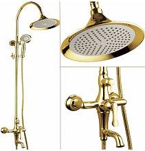 Colonna doccia e vasca da bagno dorata chic e