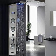 Colonna doccia multifunzione a LED in acciaio